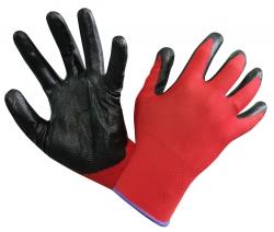 Перчатки нейлоновые Вспененные красно-черные