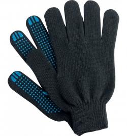 Перчатки х/б с ПВХ 10класс Точка черные