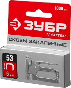 Скоба  6мм д/меб степлера (тип 53/1000шт), ЗУБР ПРОФЕССИОНАЛ