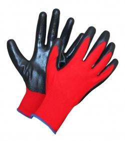 """Перчатки нейлон.с нитрил.обливом """"ПЕЖО"""" красно-черные"""