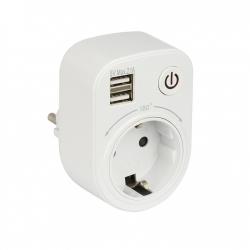 Блок розеточный SB-01 (розетка 2Р+Е 16А 2 USB разъема 5В 2.1А) PROxima