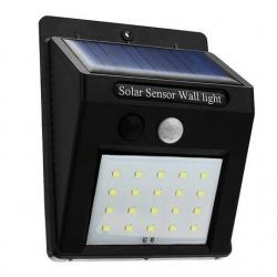 Светильник настенный на солнечных батареях с датчиком движения,24 LED,черный