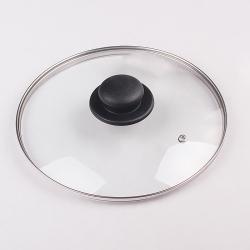 Крышка стекл. DANIKS 24см с меттал. ободом, пластик кнопка