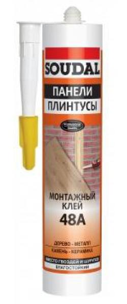 """Гвозди жидк.""""Soudal"""" д/стеновых панелей каучуковый 48А 280г"""