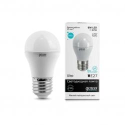 Лампа светодиодная Е14  6Вт 230В шар белый,LED, gauss (53126)